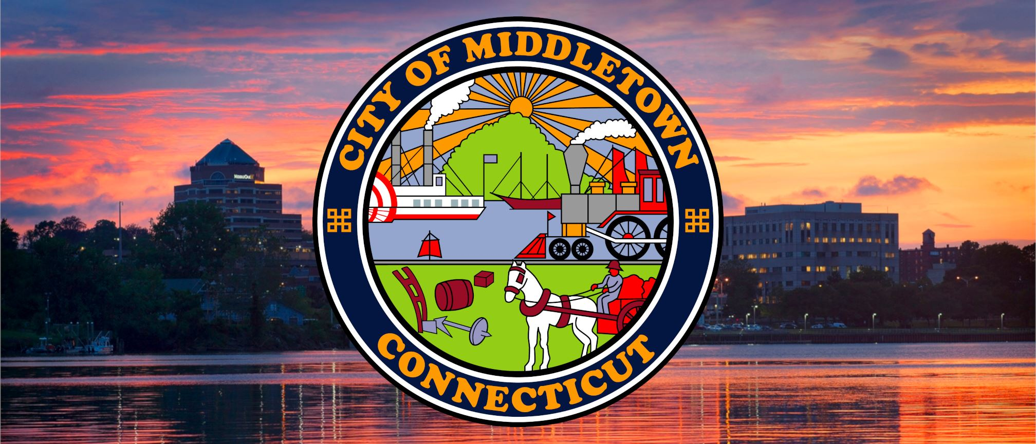 The City of Middletown's Official Seal over a dusk skyline of the City.
